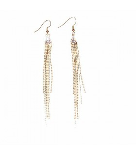 Golden long chains with rhinestones earrings