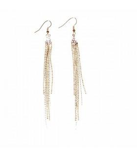Longues chaînes d'or avec des boucles d'oreilles strass