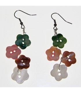 Flower earrings from natural shell