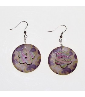 Wood earrings handmade painted
