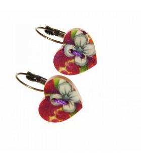 Vintage heart wood earrings handmade painted
