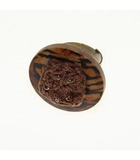 Schicker Holz Tiermuster Ring