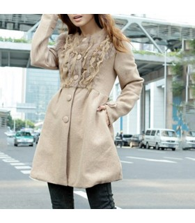 Beige cony hair embellished wool Coat