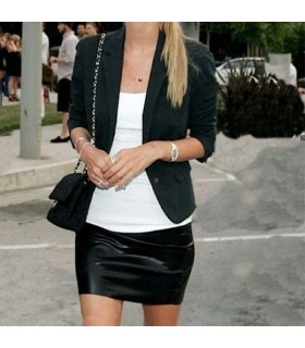 Slim black PU skirt