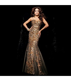 Sequin full long evening luxury dress