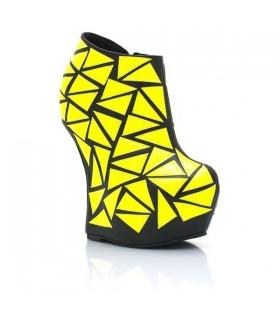 Neon geometric style no heel boots