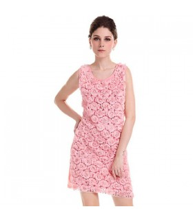 Pink roses embellished dress