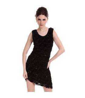 Black roses embellished dress
