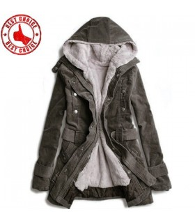 Khaki fur hood long coat
