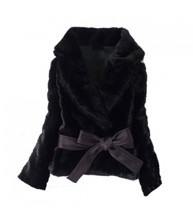 Imitation rabbit hair short black coat