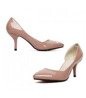 Chaussures nues de couleur de mi talon classique