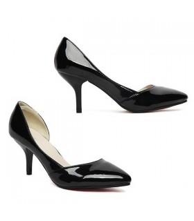 Klassische Mitte Ferse schwarz Schuhe