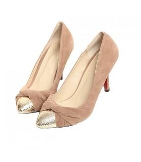 Chaussures or élégant milieu de talon