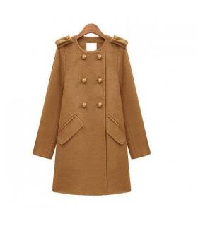 Élégant manteau camel laine peignée