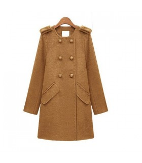 Elegant Worsted Camel Coat