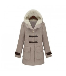 Elegant hooded wool coat