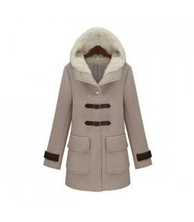 Elegante cappotto di lana con cappuccio