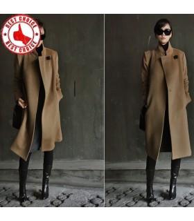 Elegant line beige wool coat