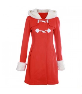 Coral hooded worsted coat