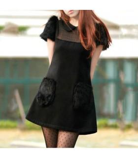 Schwarzes Fell Kleid