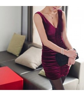 Purplish rotem Samt sexy Kleid