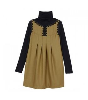 Hoher Kragen Langarm besonderes Kleid