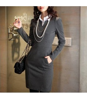 Long sleeve grey etui dress