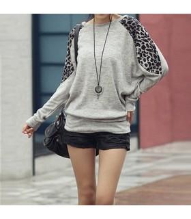Grau Langarm Leoparden Bluse