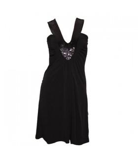Schwarzes Kleid Polyester mit Pailletten