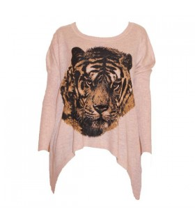 Extra-soft cropped tiger pink sweater
