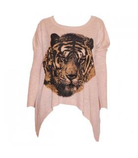 Extra weiche zugeschnittener Tiger rosa Pullover