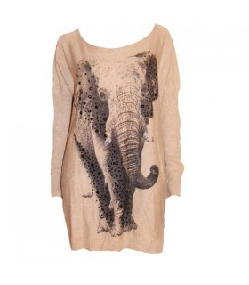 Chandail beige éléphant extra-doux