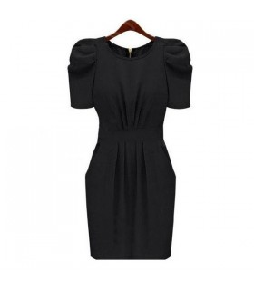 Black short sleeves  zipper dress