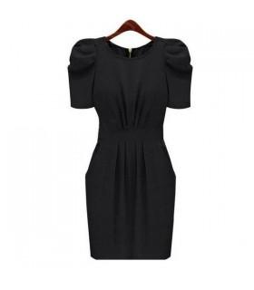 Schwarz kurzen Ärmeln Kleid