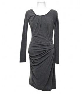 Grau Baumwolle mit langen Ärmeln Kleid