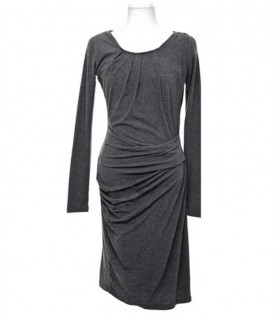 Grey cotton long sleeves dress