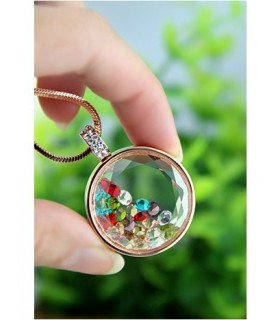 Round necklace with color rhinestones inside