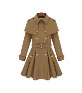 Cappotto crema di moda militar