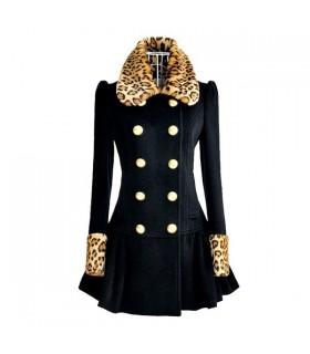 Animal print black coat