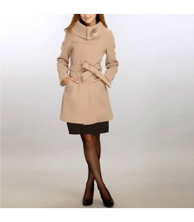 Turtleneck camel coat