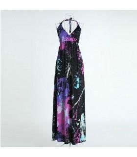 Moda scartato vernice abito lungo