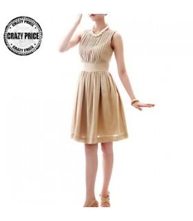 Beige Baumwolle ärmelloses Kleid