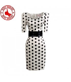 Polka dots slim dress