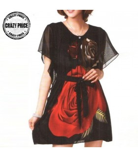 Rose flower gause dress