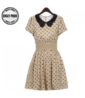 Chiffon dots dress round collar