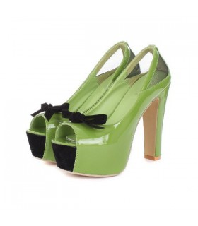 Green peep toe high heel shoes