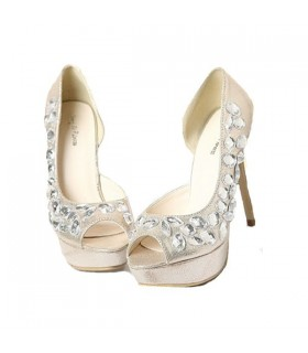 Elegant embellished stones peep toe shoes