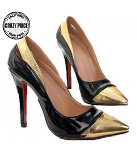 Scarpe alla moda elegante oro e nere