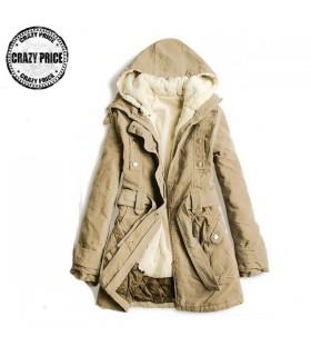 Cappotto lungo con cappuccio pelliccia beige