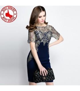 Bestickte blauen Kleid